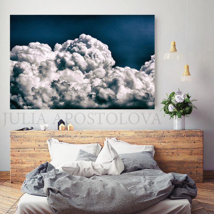 Navy Blue Cloud Painting, Cloud Wall Art, Julia Apostolova, Abstract Cloudscape, Trend Art, Textured Canvas, Dark Blue Wall Art, Large Cloud Painting, Cloud Oil Painting, Bedroom Decor, Interior, Trendy, Trend Decor, Living Room, Blue Painting, Blue Art, Naby Blue Decor, Art over Bed, Large Wall Art, Interior Designer