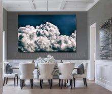 Navy Blue Painting, Cloud Wall Art, Julia Apostolova, Abstract Cloudscape, Trend Art, Textured Canvas, Dark Blue Wall Art, Large Cloud Painting, Cloud Oil Painting, Bedroom Decor, Interior, Trendy, Trend Decor, Living Room, Blue Painting, Blue Art, Naby Blue Decor, Art over Bed, Large Wall Art, Interior Designer, Dinning Room