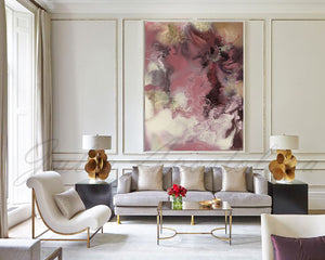 Watercolor Painting, Large Wall Art, Modern Canvas Elegant Print with Gold Details, Julia Apostolova, pink and gold, elegant, tender colors, pastel caolor, romantic art, Romantic, Romance, livingroom art decor, dining room wall art, watercolour, extra extra large art, embellished giclée, embellished canvas, pink painting, pink home decor, pink gold wall art, pink and gold wall art, rectangular wall art, interior decor, modern art, interior designer, pink gold wall art decor, bronze, dining room, living room