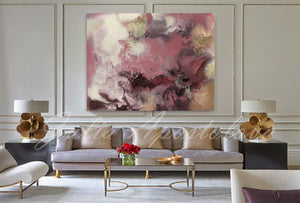 Watercolor Painting,Large Wall Art,Landscape Modern Canvas Print with Gold Details,Julia Apostolova