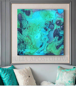 Ocean Abstract Art, Coastal Canvas Print Painting, Turquoise Seascape, Modern Decor Julia Apostolova