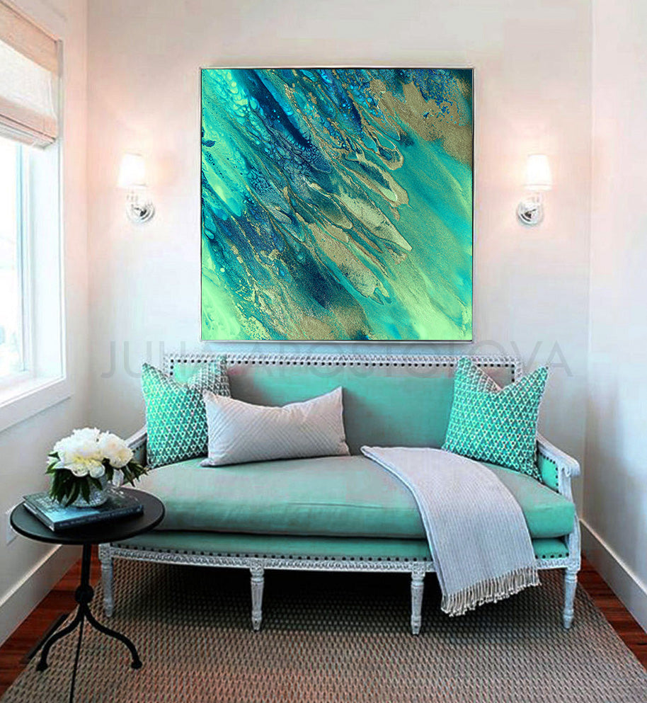 Ocean Beach Abstract Art, Turquoise Blue Painting, Canvas Print, Seascape Wall Art, Julia Apostolova