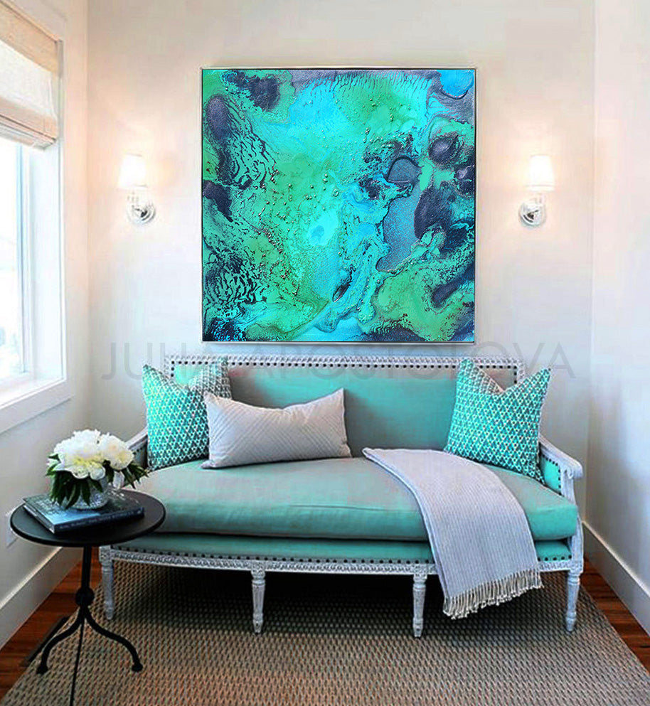 Ocean Abstract Art, Coastal Canvas Print Painting, Turquoise Seascape, Modern Decor, Julia Apostolova, Great Barrier Reef, Spa Decor, turquoise teal wall art decor, coastal wall art, turquoise zen minimalist art, interior, decor, bedroom art