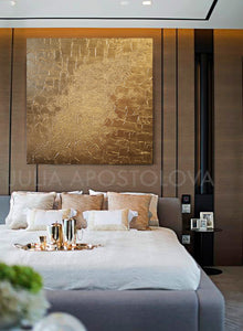 Gold Wall Art, Sculpture Art, Abstract Painting, Original Painting, Luxury Minimalist Wall Art Decor,  Julia Apostolova, Bedroom, Livingroom
