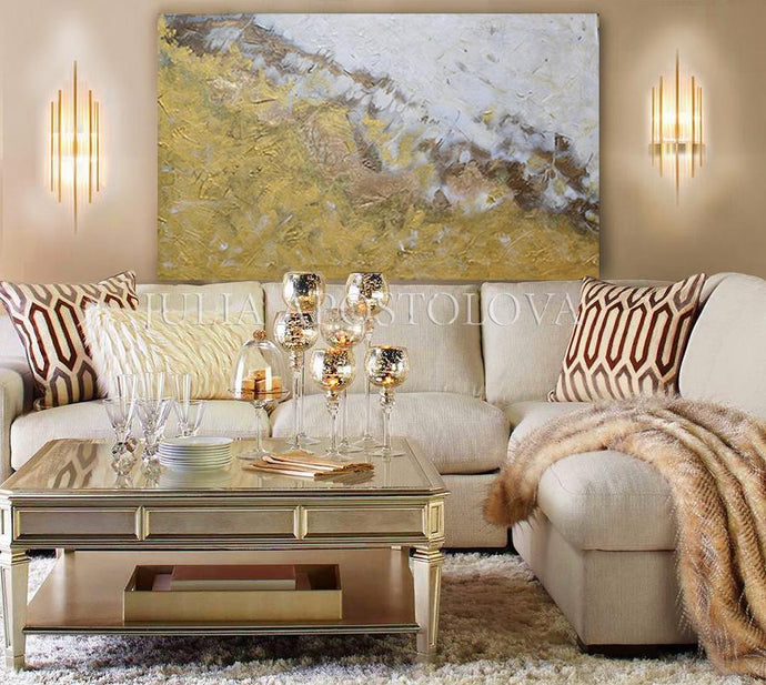 Gold White Wall Art, Original Abstract Painting, Gold Leaf Art, Minimal Art, Minimalist Art, Gold Leaf Textured Art, Modern Design, Julia Apostolova, Interior, Decor, Interior Desigber, Wall Art, Home Decor, Contemporary Art, Gold Painting, Luxury Art, Glam Art,