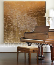Gold Sculpture Abstract Original Painting, Luxury Minimalist Wall Decor by Julia Apostolova