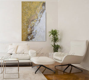 Gold White Wall Art, Original Abstract Painting, Gold Leaf Art, Minimal Art, Minimalist Art, Gold Leaf Textured Art, Modern Design, Julia Apostolova, Interior, Decor, Interior Desigber, Wall Art, Home Decor, Contemporary Art, Gold Painting