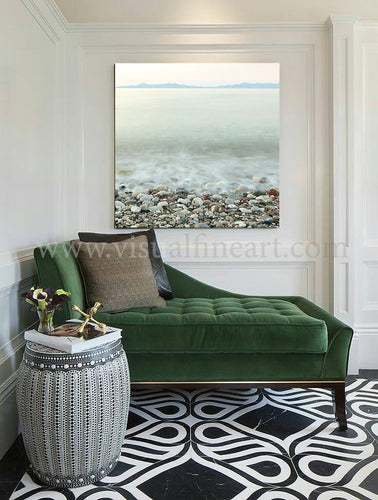 Long Exposure Photography, Coastal Print, Minimalist Wall Art, Pebble Beach Peaceful Waters, Zen Art