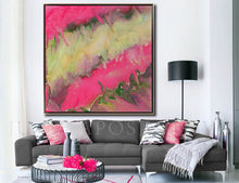 Pink Gold Green Fluid Painting, Modern Abstract, Pink Wall Art Home Decor, Large Print, Minimal Art