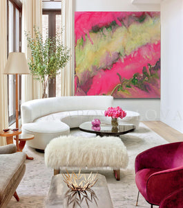 Pink and Gold Wall Art, Pink Champagne, Pink Abstract Painting, Modern Wall Art Home Decor, Large Print, Minimal Art, Pink Gold Abstract, Julia Apostolova, Pink Interior, Decor, Design, Livingroom, Girl Kids Room Decor, Interior Designer, Canvas, Textured Canvas, Ready to Hang
