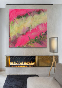 Pink Gold Wall Art, Pink Abstract Painting, Modern Wall Art Home Decor, Large Print, Minimal Art, Pink Gold Abstract, Julia Apostolova, Pink Interior, Decor, Design, Livingroom, Girl Kids Room Decor, Interior Designer, Canvas, Textured Canvas,  Julia Apostolova, Ready to Hang