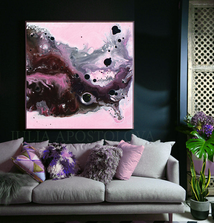 Pink, Black and Gray, Watercolor Painting, Abstract Canvas Print, Modern Home Office Decor, Wall Art, Interior Design, Julia Apostolova, Decor, Interior Designer, Canvas Art