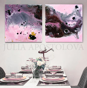 Pink, Black and Gray, Watercolor Painting, Abstract Canvas Print, Modern Home Office Decor, Wall Art