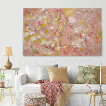 Coral Wall Art, Rose Gold Leaf Original Painting, Elegant Art with Tender Pastel Colors, Gift For Her, Original Art, Oil Painting, Julia Apostolova, Modern Decor, Nursery Art Decor, Elegant Painting, Art over Sofa, Interior, Decor, Wall Art, Copper Leaf, Rose Gold Wall Art, Coral Painting, Light Pink