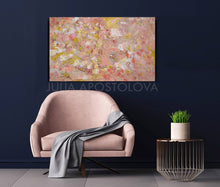 Coral Wall Art, Rose Gold Leaf Original Painting, Home Decor, Office Decor, Elegant Art, Tender Colors, Pastel Colors, Interior, Design, Interior Designer, Gift For Her, Original Art, Oil Painting, Julia Apostolova, Modern Decor, Valentines Day, Christmas Gift, Hotel Lobby Decor