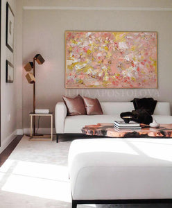 Coral Wall Art, Rose Gold Leaf Original Painting, Elegant Art with Tender Pastel Colors, Gift For Her, Original Art, Oil Painting, Julia Apostolova, Modern Decor, Nursery Art Decor, Elegant Painting, Art over Sofa, Interior, Decor, Wall Art, Copper Leaf, Rose Gold Wall Art, Romantic Art, Elegant Wall Art, Living Room, Bedroom, Interior Design