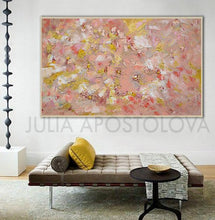 Coral Wall Art, Rose Gold Leaf Original Painting, Home Decor, Office Decor, Elegant Art, Tender Colors, Pastel Colors, Interior, Design, Interior Designer, Gift For Her, Original Art, Oil Painting, Julia Apostolova, Modern Decor, Valentines Day, Christmas Gift