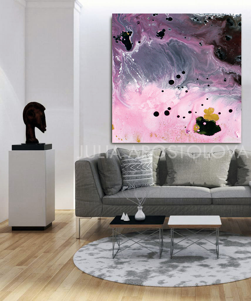 Elegant Abstract, Pink and Gray Wall Art Watercolor Painting, Large Canvas Print, Modern Home Decor