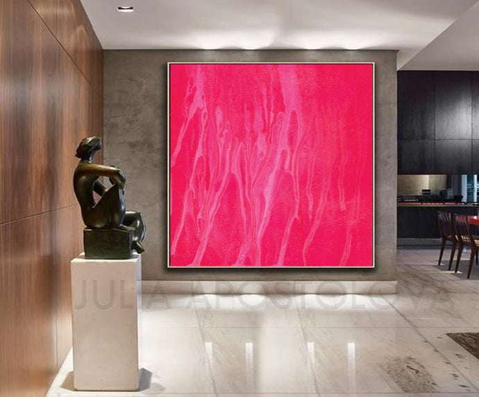Pink Wall Art, Minimalist Abstract Large Canvas Print of Original Painting, Modern Minimalist Decor, Kids Room Art, Girl Kids Room Decor, Lobby Hotel Decor, Purple Wall Art, Pink Painting