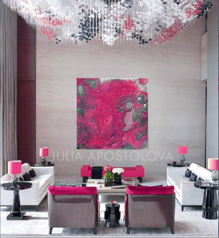 Pink And Silver Elegant Abstract Canvas Wall Art Large Print Painting Modern Decor Gift For Her
