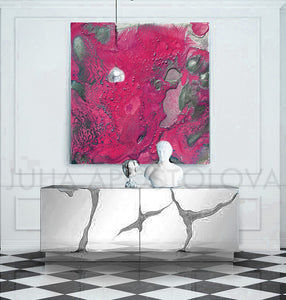 pink and silver, purple and silver, julia apostolova art, amaranth wall art, amaranth color, Amaranth Abstract, Wall Art, Gallery Wrapped Canvas Print, Contemorary, Home Decor, Feng Shui, Colour Art, Abstract Print, Minima Art, Pink, Interior, Decor, Livingroom, Interior Designer, Square Painting, Julia Apostolova, Large Wall Art