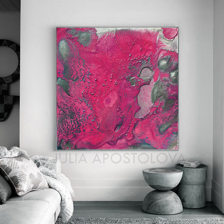 Pink And Silver Elegant Abstract Canvas Wall Art Large Print