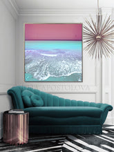Pink Sky and Turquoise Waters Canvas Pastel Wall Art Ocean Beach Photography, Minimal Coastal Print