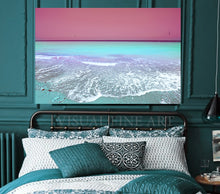 Turquoise Pink Wall Art Aerial Beach Canvas Print, Huge Relaxing Art for Bedroom, Pilates, Spa Decor