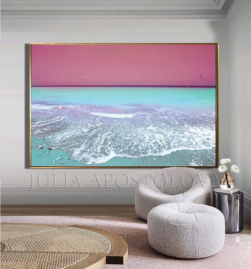 Pink Sky and Turquoise Waters, Turquoise Pink Wall Art, Aerial Beach, Canvas Print, Coastal Decor, Huge Relaxing Art for Bedroom, Pilates, Spa Decor, Coastal Wall Art Canvas, Pastel Colors, Pastel Wall Art, Relaxing Art, Interior, Home Decor, Ocean Waves, Seascape,