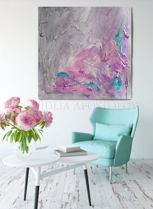 Romantic Wall Art Canvas, Gray Purple Wall Art Abstract Painting, Modern Wall Decor, Romantic Wall Art Canvas, Scent of Provence, Gray Painting, Pink, Purple Art, Wall Art, Abstract Painting, Modern Wall Decor, Romance, Decor, Interior, Office, Bedroom Art, Living Room, Grey, Large Wall Art, Minimimalist Painting, Abstract Painting, Canvas Print, Textured Canvas, Modern Art