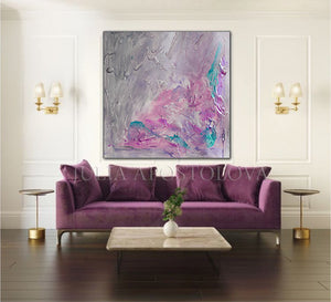 Gray Purple Wall Art Abstract Painting Modern Wall Decor Romantic Wall Art Canvas'Scent of Provence'