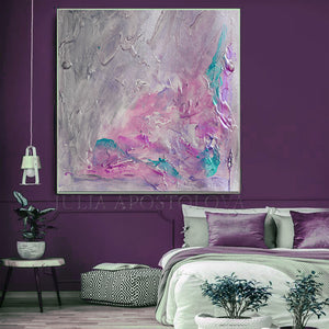 Gray Purple Wall Art Abstract Painting, Romantic Wall Art Canvas, Scent of Provence, Gray Painting, Pink, Purple Art, Wall Art, Abstract Painting, Modern Wall Decor, Romance, Decor, Interior, Office, Bedroom Art, Living Room, Grey, Large Wall Art, Minimimalist Painting, Abstract Painting, Canvas Print, Textured Canvas, Modern Art, Art over Bed
