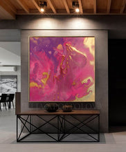 Pink Gold Wall Art, Purple Minimalist Abstract Painting, Canvas Art, Golden Details, Pink and Gold, READY TO HANG, Julia Apostolova, romantic painting, glitter abstract art, minimalist art, purple wall art, purple painting, purple minimalist painting, purple gold wall art, purple gold, purple decor, print on canvas, pouring painting, anniversary gift, extra large abstract paintings, large abstract art, embellished giclée, embellished canvas, elegant interior design, elegant decor, bold colors, dinning room,