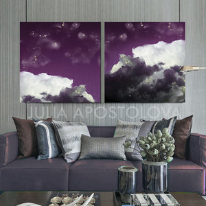 Cloud Painting, Set of Two Cloud Art, Modern Canvas Art Print, Purple White Abstract Trendy Art Decor, Mauve Cloud Wall Art, Trendy Wall Art Decor, Interior, Design, Julia Apostolova, Cloudscape, Art, cumulus, Living Room, Trending Art, Scandinavian, Nordic, Kids Room Decor