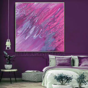 Purple Wall Art, Julia Apostolova, Purple Silver Art, Large Abstract Canvas Print, Romantic Purple Minimalist Painting, Girl Room Decor
