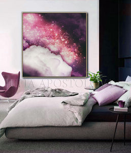 Purple Dream Celestial Abstract Wall Art Cloud Painting Large Canvas Art Print, Trending Wall Decor