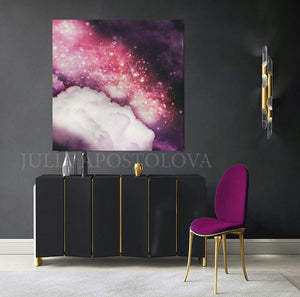 Purple Dream, Celestial Art, Julia Apostolova, Cloud Art, Abstract Wall Art Cloud Painting Large Canvas Art Print, Trending Wall Decor, Bedroom Decor, Cloud Painting, Nursery Art, Girls Room Decor, Purple Wall Art, Pink Sky, Purple Sky, Giift for Her