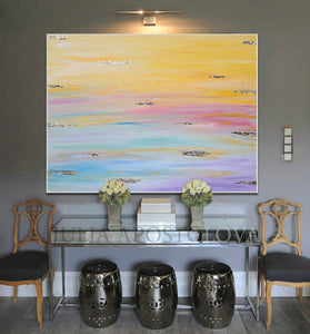 Original Painting, Minimalist Painting, Abstract Painting, Huge Wall Art Painting with Pastel Colours, Embellished with Gold Leaf, Julia Apostolova, Large Wall Art, Rainbow Colours