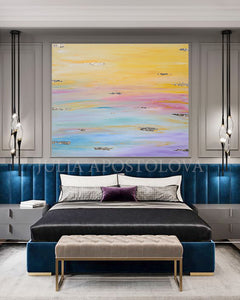 Original Painting, Minimalist Painting, Abstract Painting, Huge Wall Art Painting with Pastel Colours, Embellished with Gold Leaf, Julia Apostolova, Large Wall Art, Rainbow Colours, Bedroom Art