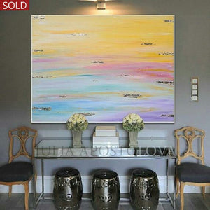Original Minimalist Abstract Wall Art Painting with Pastel Colours and Embellished with Gold Leaf