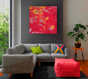 Amaranth Abstract Wall Art Gallery Wrapped Canvas Print Contemporary Home Decor Feng Shui Colour Art