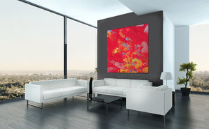 amaranth wall art, amaranth color, Amaranth Abstract, Wall Art, Gallery Wrapped Canvas Print, Contemorary, Home Decor, Feng Shui, Colour Art, Yellow, Abstract Print, Minima Art, Pink, RedInterior, Decor, Livingroom, Interior Designer, Square Painting, Julia Apostolova, Large Wall Art
