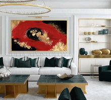 Red Gold Black Art, Gold Leaf Painting Abstract Gold Leaf, Large Luxury Wall Art, Julia Apostolova, Living Room, Gold Leaf Abstract, Gold Leaf Wall Art, Hotel Decor, Interior, Glam Decor, Luxury painting, Luxury Art, Deep Red and Gold, Interior Designer, Interior Design Ideas, Wall Art with Real Gold Leaf, Dinning Room, Office, Restaurant,