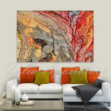 red gold wall art colorful abstract canvas print, gold silver art, large painting, Endless Passion, julia apostolova, happy clients, review, clients home, contemporary, modern, interior, decor, wall art, colorful, textured, floral, red painting, gold and silver art, rectangular art, office, home decor, dinning room