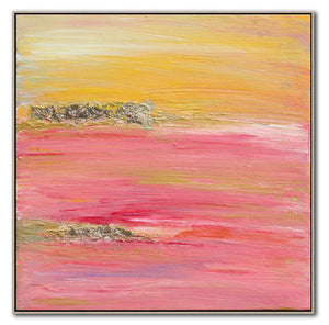 Pink Yellow Gold Abstract Wall Art, Minimal Square Print, 'The Light Of Peace Love And Hope' Part 1