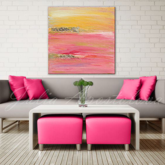 Pink Yellow Gold Abstract Print Minimal Square Painting Large Wall ...