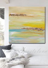 Yellow Gold Blue Abstract Print, Gold Leaf, Minimalist Painting, Large Wall Art, Part 2 of Triptych