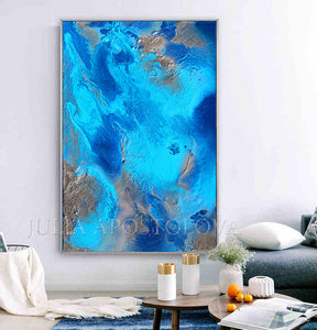 Abstract Ocean, Turquoise Silver Art Abstract Seascape Painting Embellished Canvas Print, Relaxing Ocean Sounds, Julia Apostolova,  Bedroom Art, Relaxing Art, Livingroom Wall Art, Blue Painting, Turquoise Painting, Abstract Painting, Sea Art, Zen, Spa Decor, Hotel Lobby Decor , office interior Office Decor Modern Art office decor ocean print ocean painting ocean canvas print ocean abstract wall art, glitter wall art, glitter painting glitter canvas, glitter art, glam wall art, glam interior
