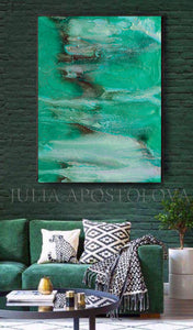 Turquoise Green Wall Art Zen Painting, Abstract Watercolor, Teal Landscape Canvas Print, Seascape Art, julia apostolova, teal wall art, minimalist painting, canvas wall art, large painting, zen decor, interior, living room, bedroom, interior designer