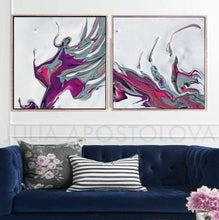 White Purple Minimalist Painting Set of 2 Art Canvas Prints of Original Floral Abstract Painting